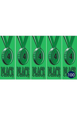 Vinyl Medal Ribbons (Self-Adhesive) - Green 4: Pack of 20