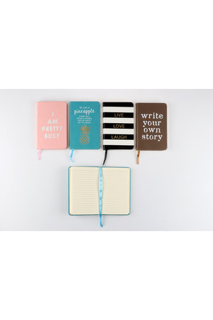 Stylex Notebook - PU Cover Fashion (A6): Assorted (192 Pages) - Pack of 4