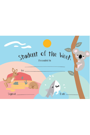 Student of the Week Australian Animals Merit Certificate - Pack of 20 Cards