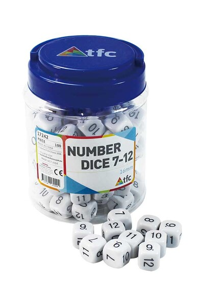 Dice - 6 Face: Numbers 7-12