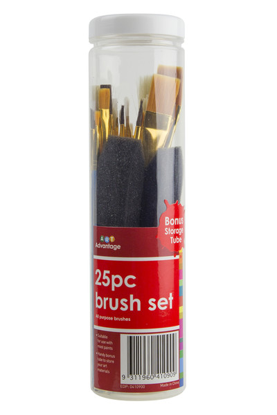 Art Advantage Paint Brush - Tube Assorted (Pack of 25)