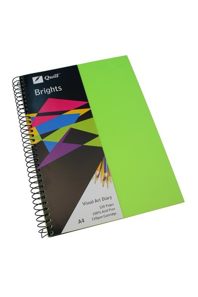 Quill Visual Art Diary - A4 Brights: Lime Green (60 Leaf)